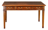 DK02 Three Drawer Square Tapered Leg Leather Top Desk