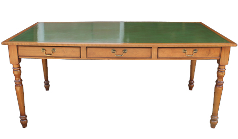 Touchwood UK DK03 Three Drawer Turned Leg Leather Top Desk