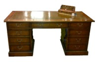 DK06 Twin Pedestal Leather Top Writing Desk