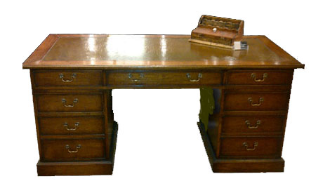 Touchwood UK DK06 Twin Pedestal Leather Top Writing Desk
