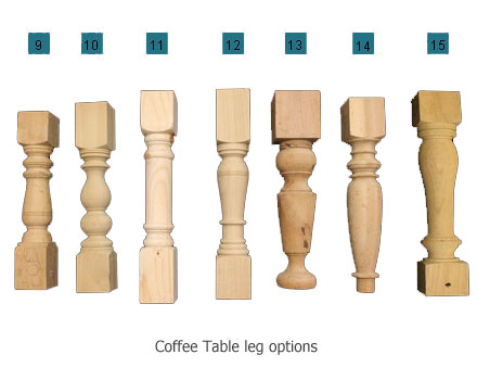 Touchwood UK leg styles for coffee tables